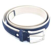 Cintura uomo bicolore blu e beige in pelle scamosciata e tela regolabile fibbia