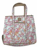 Liz Claiborne Tropical Pink Orange Canvas Shoulder Bag  Logo