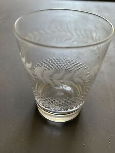 Antique vintage Edwardian / Victorian etched cut glass water / whiskey tumbler