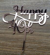 HAPPY 40TH MIRROR CAKE TOPPERS BIRTHDAY FORTY    BIRTHDAY PARTY MILESTONE 40
