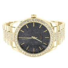 Techno Pave Watch Black Dial Analog Gold Tone Simulated Diamond Iced Out Custom