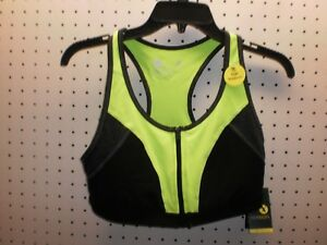 XERSION Misses S Lime/Blk Qck-Dri ZIP-Front Athletic / Sports Bra FREE Shpg NWTA