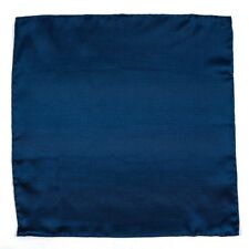 New SANTOSTEFANO Handmade Large Navy Woven Silk Pocket Square Handkerchief $150