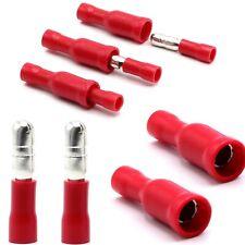 100 tlg. Rundstecker + Rundsteckhülsen Kabelschuhe Set isoliert rot 0,5-1,5mm²