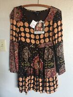 MINKPINK NWT New Nordstrom Dress XS Boho Chic Mixed Floral Babydoll Tunic Fall