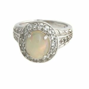 Victoria Wieck Ethiopian Opal and White Topaz Sterling Silver Frame Ring Size 8