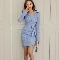 Women Spring New OL Elegant Long-sleeved Striped Slim Fit Shirt Warp Hip Dress