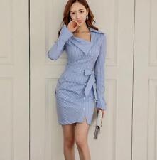 Women New OL Elegant Long-sleeve Striped Slim Fit Shirt Warp Hip Dress Shirts