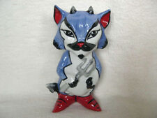 Lorna Bailey Halloween Cat Tall Devil Lucifer in Blue With Trident Signed New