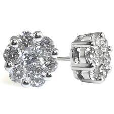 Diamante Pendientes con Pasador: 2.00ct F vs Corte Brillante Redondo en Oro Blanco 18ct