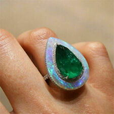 Ring Opal Pear Emerald Size 6-10 Cut Party Natural Fire Woman Jewelry