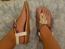 white pink blue jewelled size 3 sandals