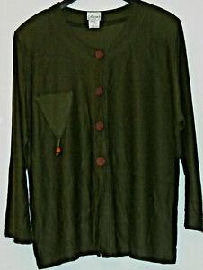 1 Damen-Shirt Gr. 54/56 mit Rundhals, langen Ärmeln in Dunkelolivfarben Paris