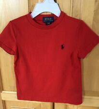 POLO RALPH LAUREN BABY BOY'S RED COTTON TEE SHIRT WITH BLUE PONY - SIZE 24M