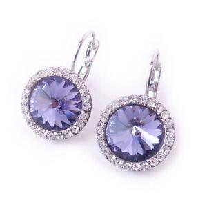 Tanzanite Purple Crystal Halo Earrings made with Swarovski Rhinestone Prom Gift