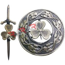 Shamrock Kilt Pin and Brooch Badge Fly Plaid High Quality Antique Finish