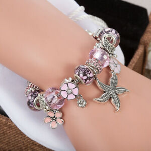Authentic Silver Snake Clasp Charm Bracelet Starfish Ocean European Pandora Bead