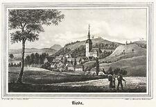 NIEDA / NIDOW - Gesamtansicht mit Kirche - Kirchen-Galerie - Lithografie 1840