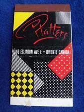 PLATTERS RESTAURANT BAR EGLINGTON AVE TORONTO ONT CANADA VINTAGE MATCHBOOK
