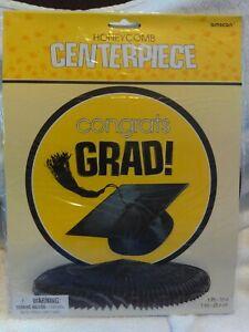 Honeycomb Congrats Grad Centerpiece, Black ,Yellow, White