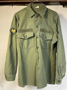 1967 US Army Sateen OG-107 Utility Shirt 15.5 x 33 OD Green Kennedy Named Dress