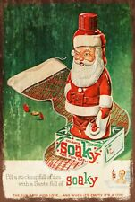 Soaky Bubble Bath Christmas Advert Vintage Retro Style Metal Sign, Santa