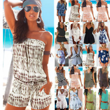 Womens Holiday Playsuit Romper Jumpsuit Summer Beach Mini Shorts Pants Overalls