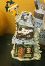 Blue Sky Clayworks Goldminc Halloween Howlin Mansion Tea Light signed
