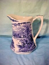 "Vintage ALFRED MEAKIN ENGLAND 6"" TALL Tintern Pitcher Lovely Blue & White #36"