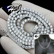"""22""""MEN 925 STERLING SILVER 3MM ICED OUT BLING 1 ROW TENNIS CHAIN NECKLACE*SN10"""