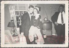 Vintage Photo Man & Pretty Girl in Arms Honeymoon Mode TV Home Interior 761621