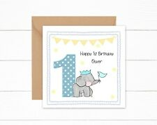 Personalised 1st Birthday Card Boys Cute Elephant 1 Today Son Grandson Nephew
