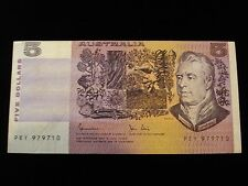 Australian 5 Dollar Note Johnston / Stone Cut Error Off Center Print Error #ZY1b