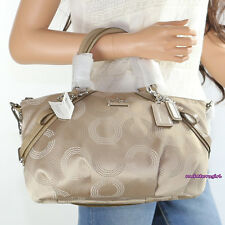 NWT Coach Madison Dotted OP Art Sophia Satchel Shoulder Bag 15935 Khaki RARE NEW