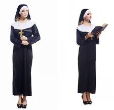 Ladies Nun Catholic Religious Sister Black Robe Dress Gown Fancy Dress Costume