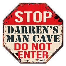 OTGM-0243 STOP DARREN'S MAN CAVE Tin Rustic Sign Man Cave Decor Gift Ideas