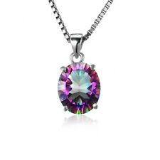 JewelryPalace Natural Mystic Rainbow Topaz Pendant Necklace 925 Silver 18 Inches