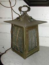 Original Victorian Art Nouveau brass Lantern with original glass panels
