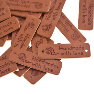 24pcs Hairball Handmade with Love Leather Labels DIY Sewing Clothing Tags Decor