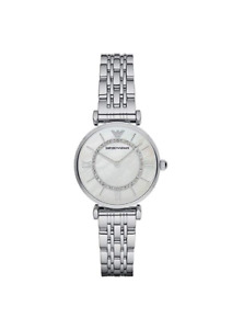 New Emporio Armani Classic Mother of Pearl Dial Silver Women's Watch AR1908