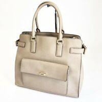 Michael Kors Tan Beige Saffiano Leather Rolled Strap Divider Handbag Tote Bag