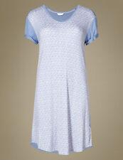 Size 16 Nightdress Nightie Marks & Spencer Love to Sleep Blue Mix Stretch