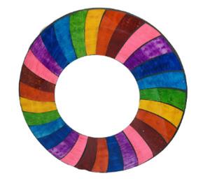 Sunlover Unique 30cm Mosaic Rainbow Wave Stripe Round Mirror