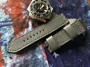 24 mm handmade.Saffiano  leather watch strap .Grafitte gray  . Itallian Job .