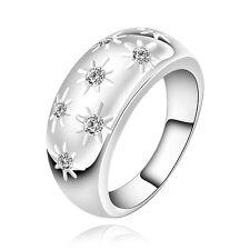 Elegant Silver Plated Stars Zircon Wide ring size medium O 17 mm FR183