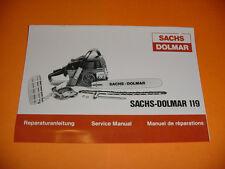 SACHS DOLMAR CHAINSAW 119 REPAIR SERVICE MANUAL NEW   -----------------  BOX2297
