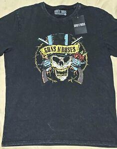 Guns N' Roses 'Faded Skull' LICENSED Mens T-Shirt Black Stonewash - LARGE - NWT