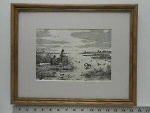 Aiden Lassell Ripley DUCK SHOOTING framed 11x14 Etching Reproduction