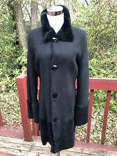 New$ 1150 Woman's Black 100% Shearling Fur Leather Reversible Winter Coat Size S