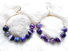 Kenneth Jay Lane Large Gold Purple Agate Bead Hoop Pierced Earrings